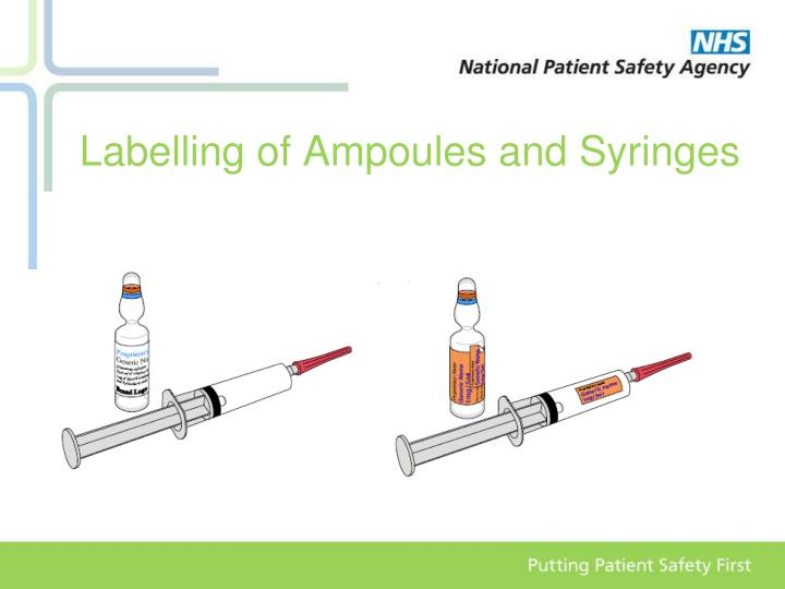 Labelling of Ampoules and Syringes