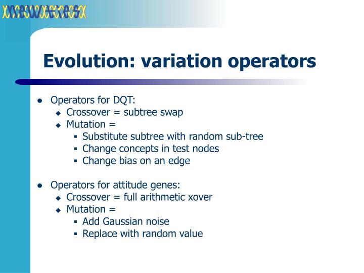 Evolution: variation operators