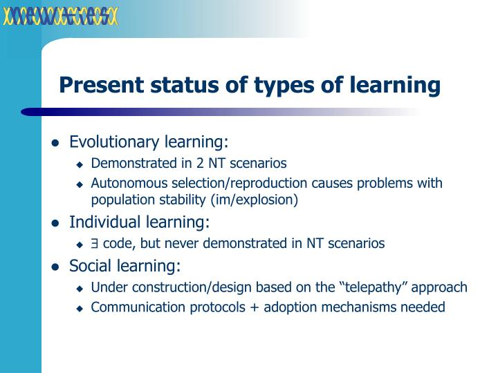 Present status of types of learning