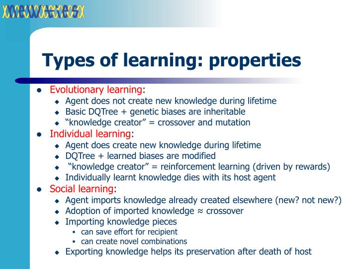 Types of learning: properties