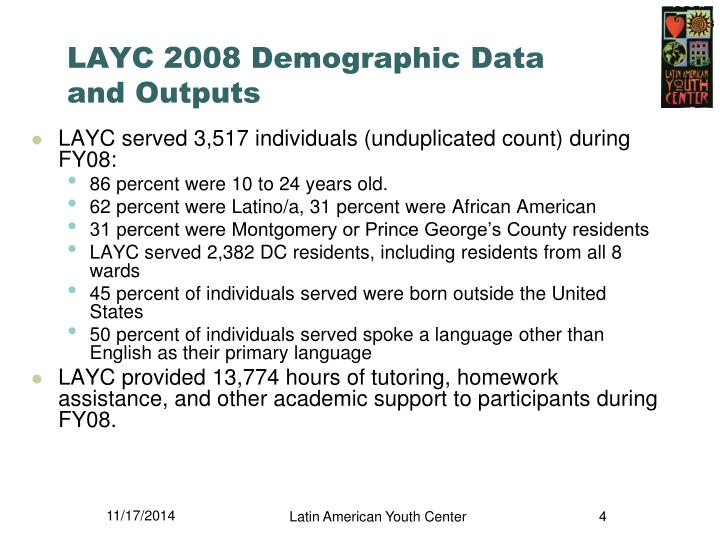 LAYC 2008 Demographic Data and Outputs