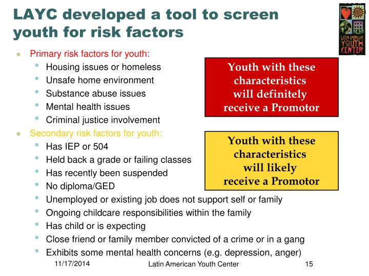 LAYC developed a tool to screen youth for risk factors