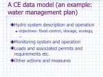 a ce data model an example water management plan