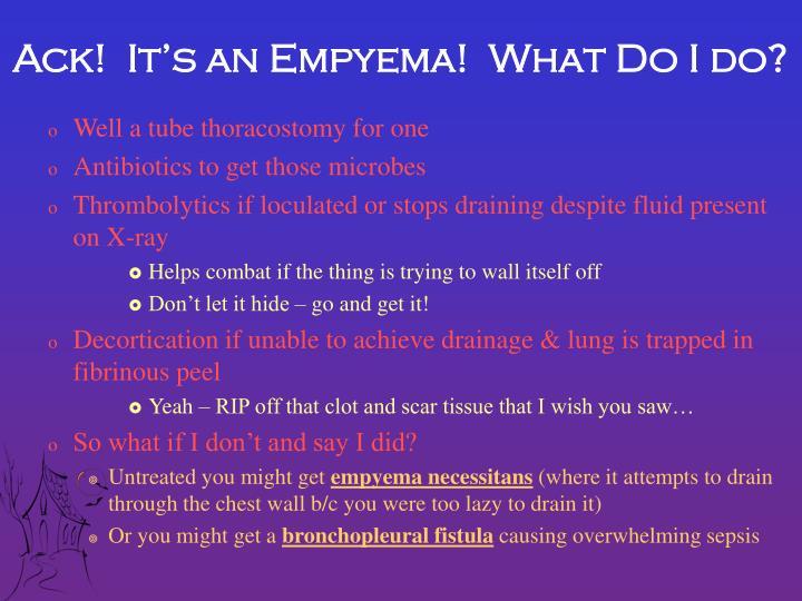 Ack!  It's an Empyema!  What Do I do?