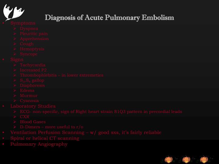 Diagnosis of Acute Pulmonary Embolism