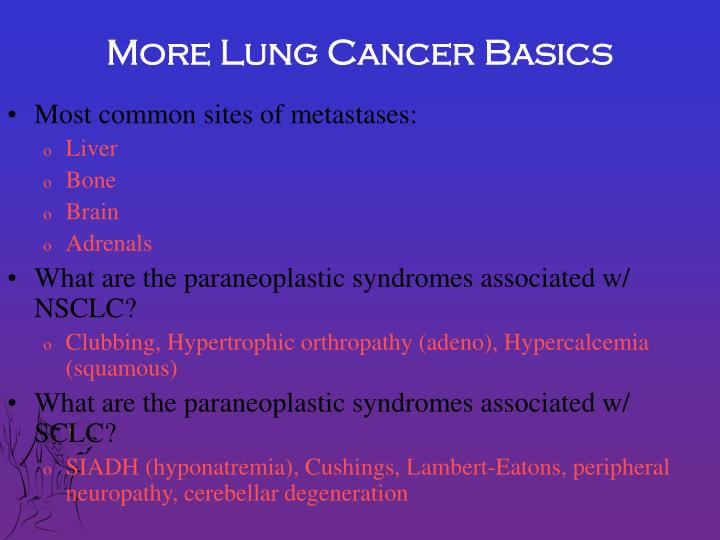 More Lung Cancer Basics