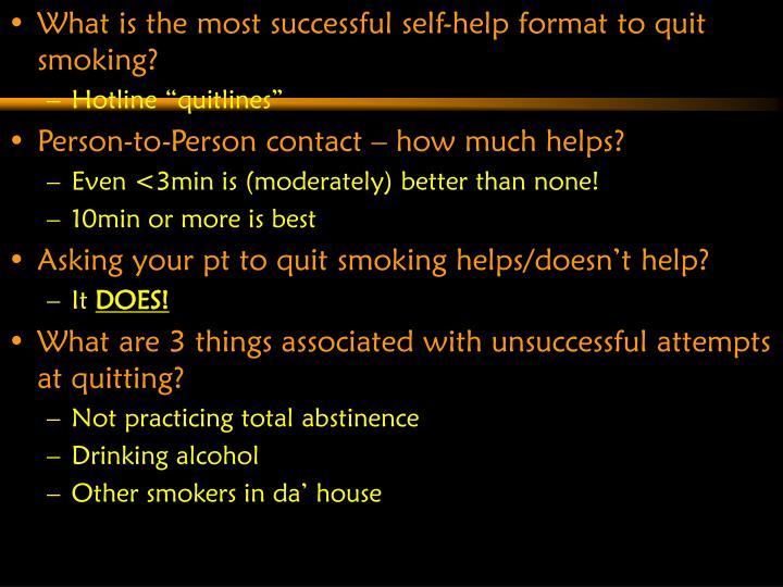 What is the most successful self-help format to quit smoking?