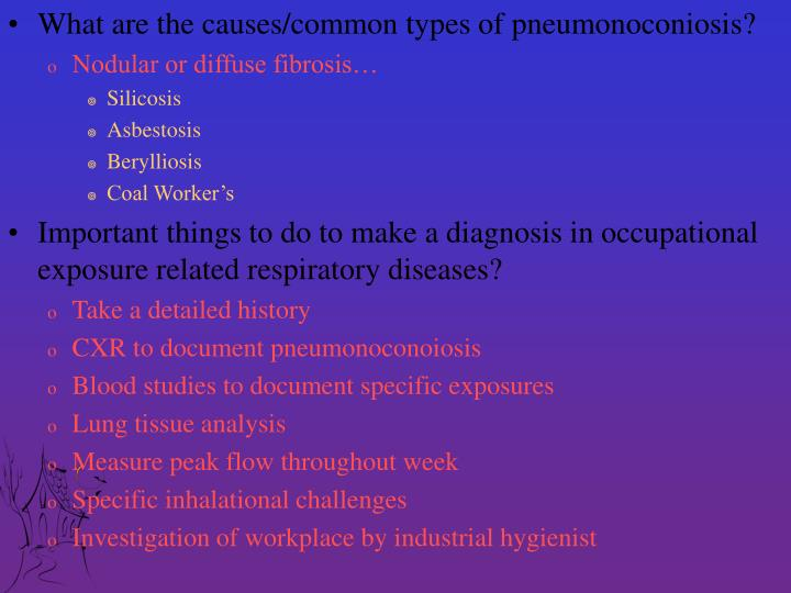What are the causes/common types of pneumonoconiosis?