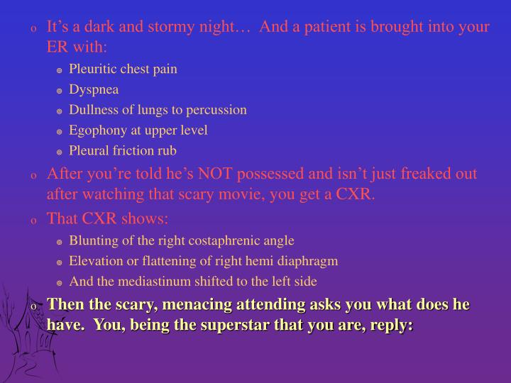 It's a dark and stormy night…  And a patient is brought into your ER with: