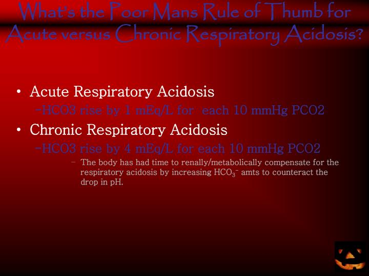 What's the Poor Mans Rule of Thumb for Acute versus Chronic Respiratory Acidosis?
