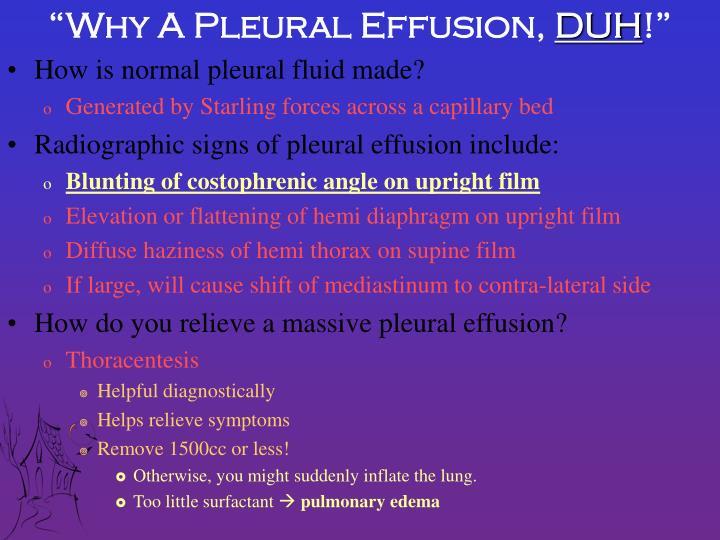 """""""Why A Pleural Effusion,"""