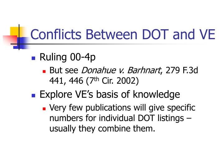 Conflicts Between DOT and VE