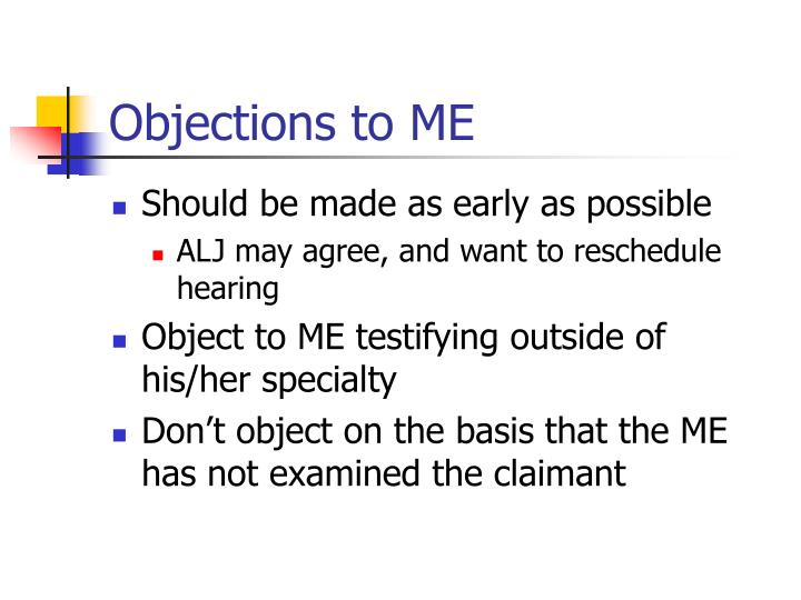 Objections to ME
