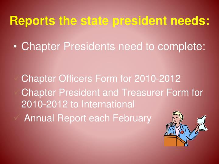 Reports the state president needs: