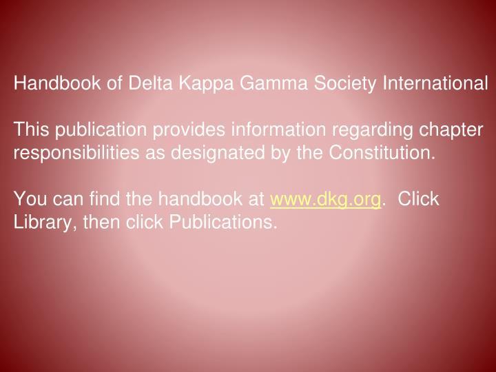 Handbook of Delta Kappa Gamma Society International
