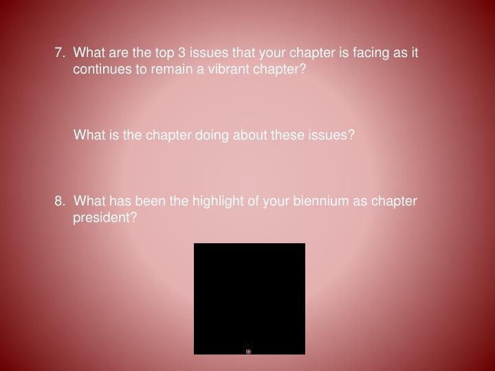 What are the top 3 issues that your chapter is facing as it continues to remain a vibrant chapter?