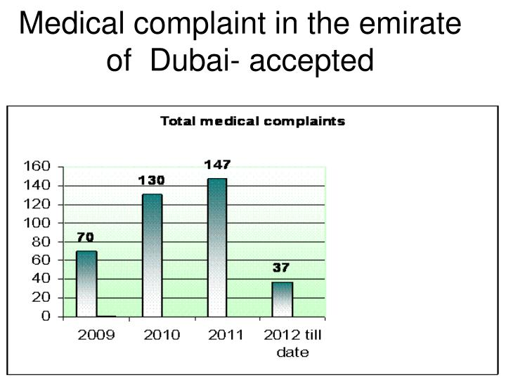 Medical complaint in the emirate of  Dubai- accepted