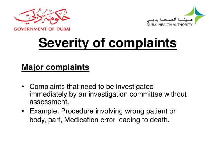 Severity of complaints
