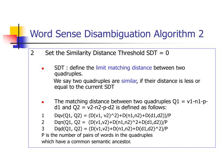 Word Sense Disambiguation Algorithm 2