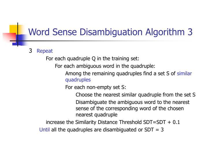 Word Sense Disambiguation Algorithm 3