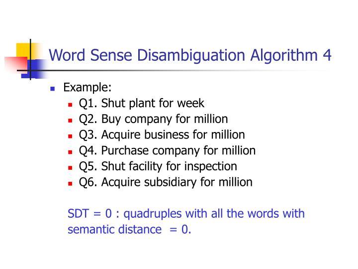 Word Sense Disambiguation Algorithm 4