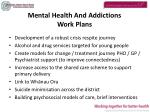 mental health and addictions work plans