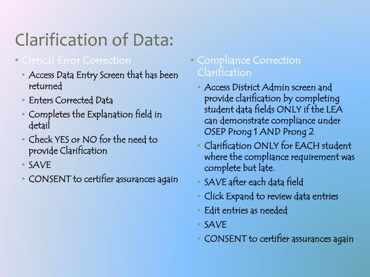 Clarification of Data: