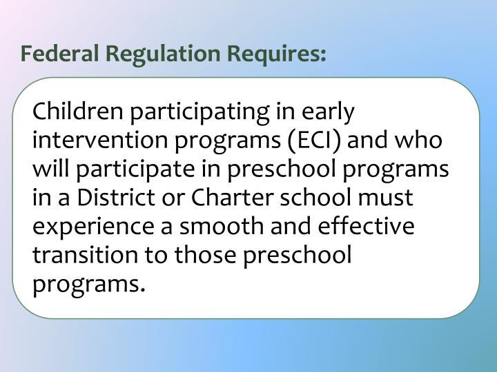 Federal Regulation Requires: