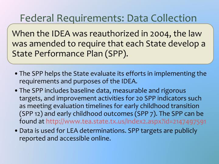 Federal requirements data collection