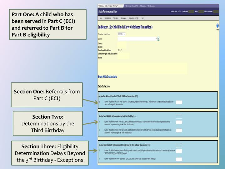 Part One: A child who has been served in Part C (ECI) and referred to Part B for Part B eligibility