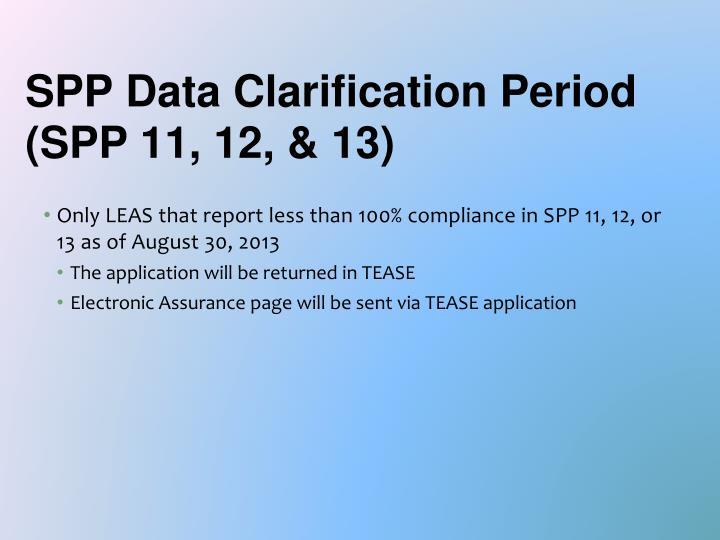 SPP Data Clarification Period