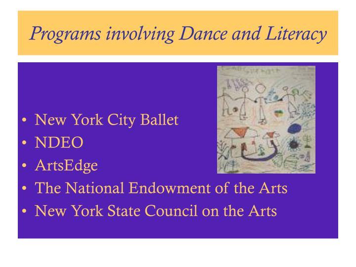 Programs involving Dance and Literacy