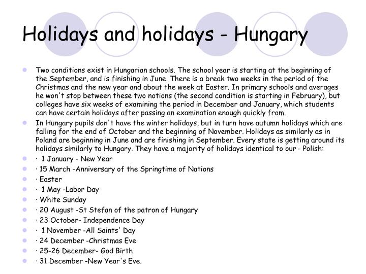 Holidays and holidays - Hungary