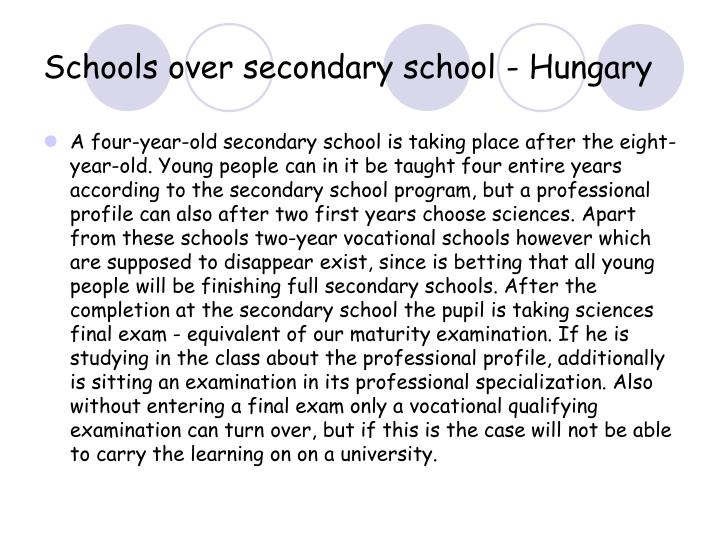 Schools over secondary school - Hungary