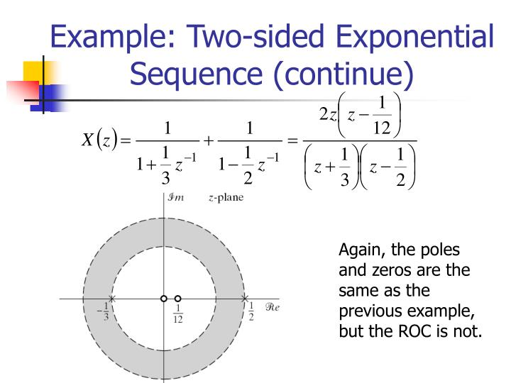 Example: Two-sided Exponential Sequence (continue)
