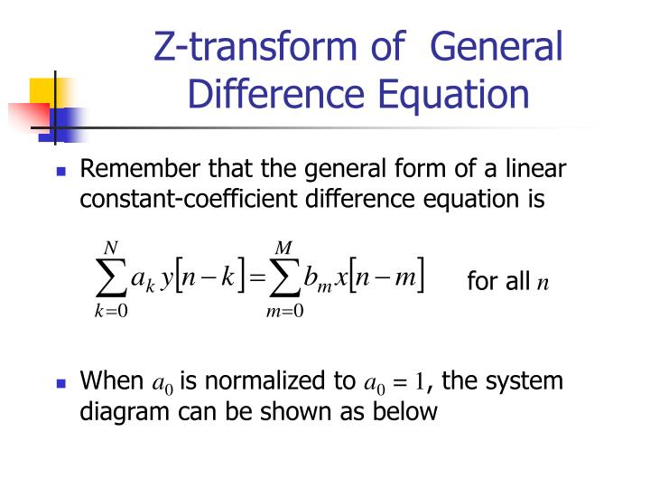 Z-transform of  General Difference Equation