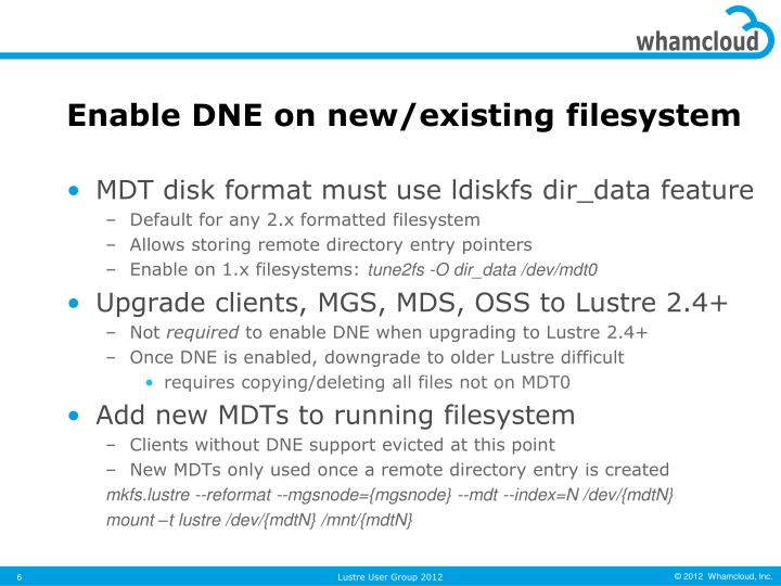Enable DNE on new/existing filesystem