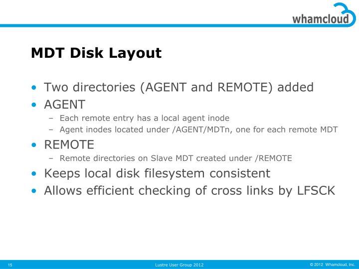 MDT Disk Layout