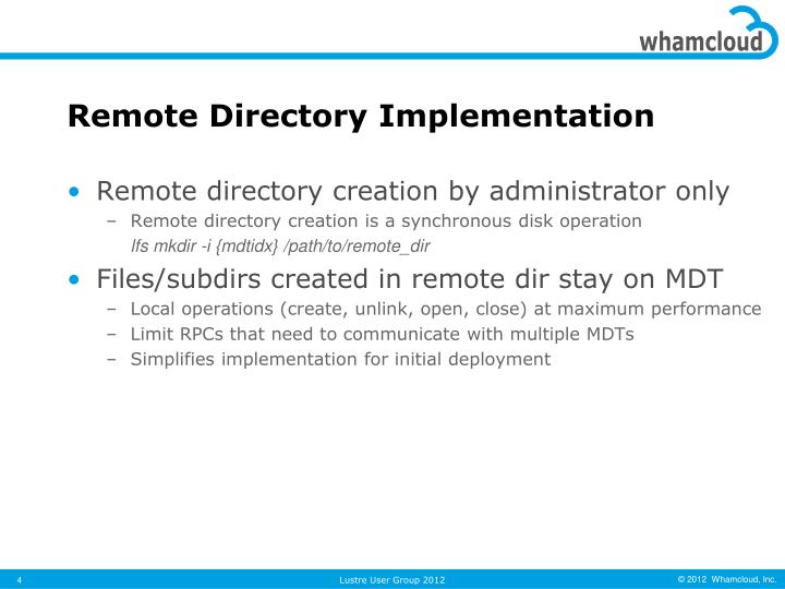 Remote Directory Implementation