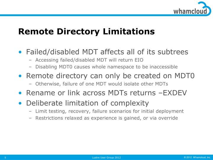 Remote Directory Limitations
