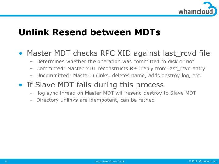 Unlink Resend between MDTs