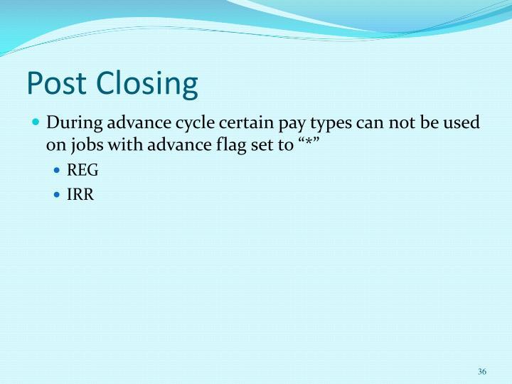 Post Closing