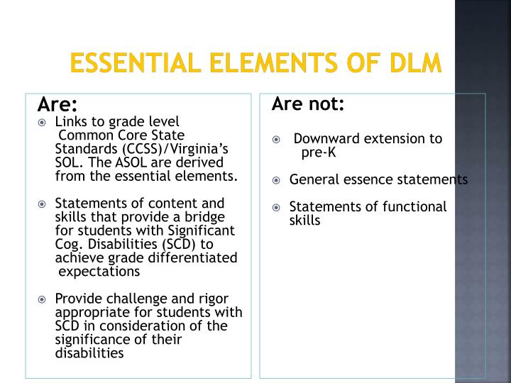 Essential Elements of DLM
