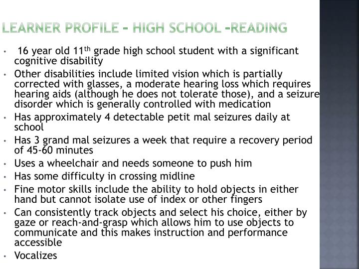 Learner Profile – High School –Reading