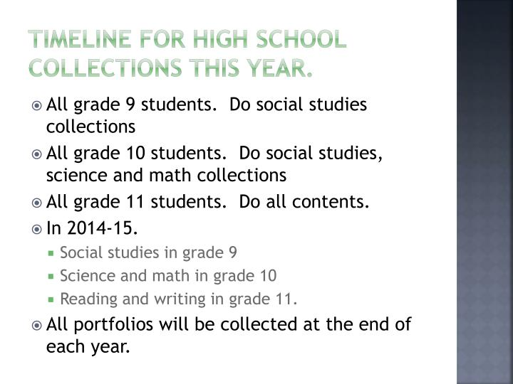 Timeline for High School Collections This year.