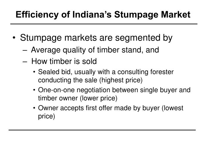 Efficiency of Indiana's Stumpage Market