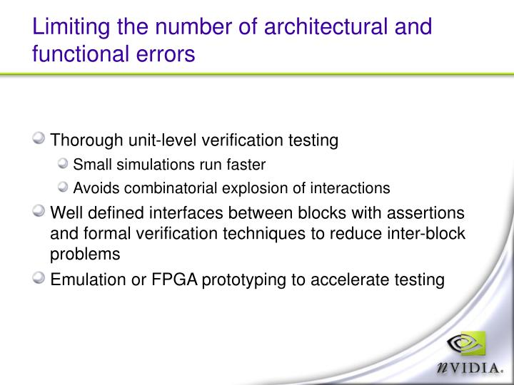 Limiting the number of architectural and functional errors