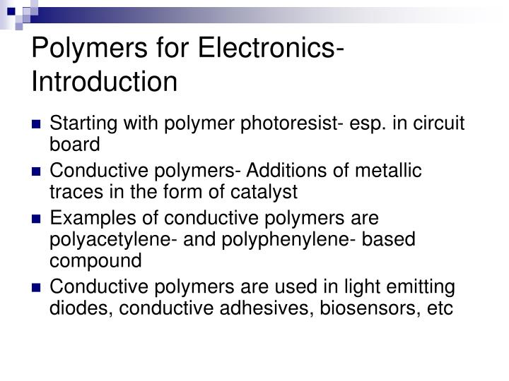 Polymers for Electronics- Introduction