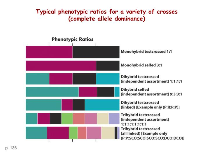 Typical phenotypic ratios for a variety of crosses