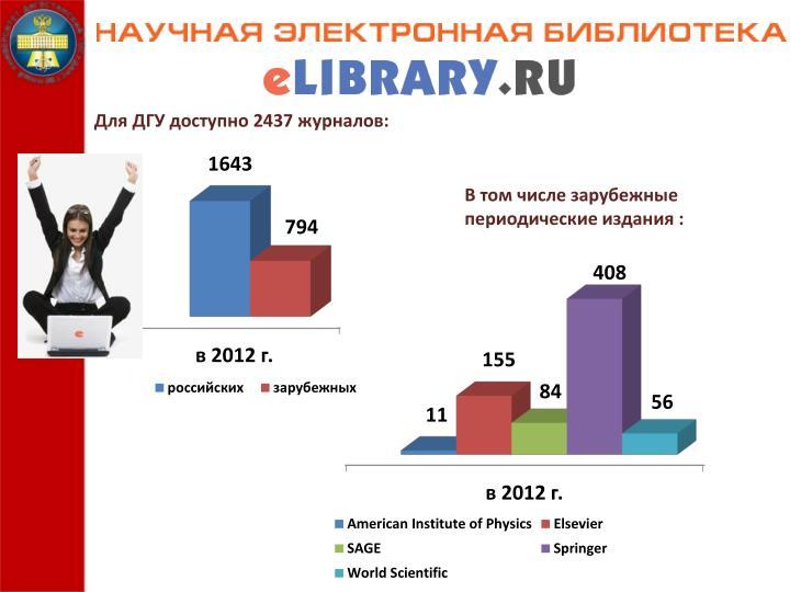 Для ДГУ доступно 2437 журналов: